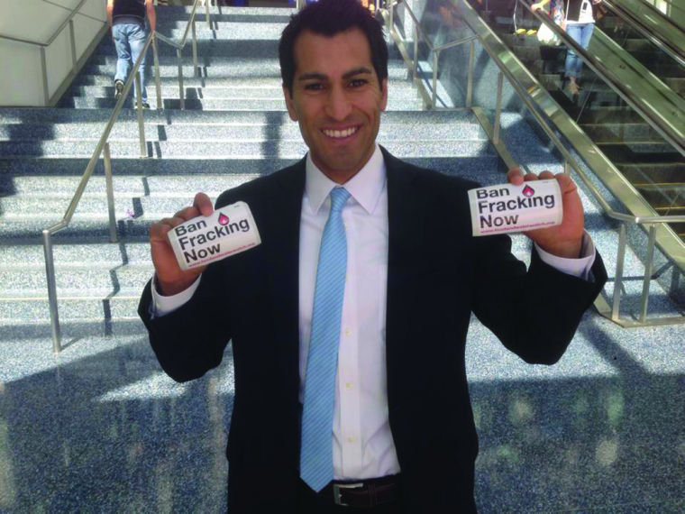 Rivas shows support for fracking ban at Dem convention